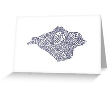 Navy Blue Isle of Wight map Greeting Card