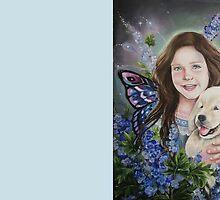 Fairy child with golden retriever puppy by Gabriella  Szabo