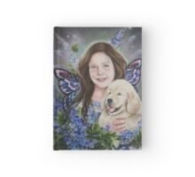 Fairy child with golden retriever puppy Hardcover Journal