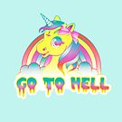 """Go To Hell"" Mean Unicorn (neon + black) by Amy Grace"