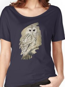 Barred Owl Bw Sepia Art Women's Relaxed Fit T-Shirt