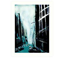 Blue Foggy City Art Print