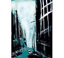 Blue Foggy City Photographic Print