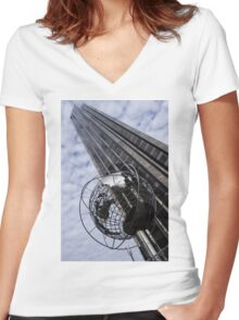 Silver and Blue Planet Earth Women's Fitted V-Neck T-Shirt