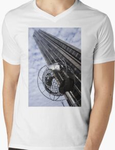 Silver and Blue Planet Earth Mens V-Neck T-Shirt