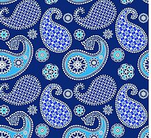 Paisley, cobalt blue and turquoise by Marymarice