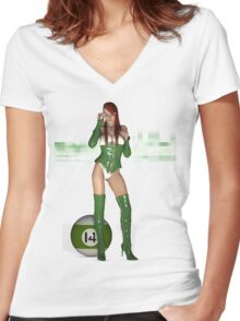 Poolgames 2009 - No. 14 Women's Fitted V-Neck T-Shirt