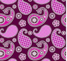 Paisley, Purple and Fuchsia Pink by Marymarice