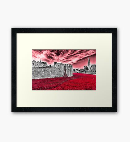 Poppies At The Tower - the very sky weeps Framed Print