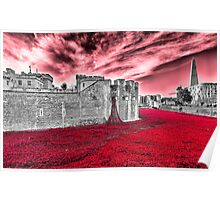 Poppies At The Tower - the very sky weeps Poster