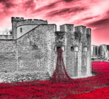 Poppies At The Tower - the very sky weeps Sticker