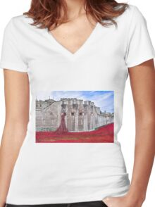 Poppies at The Tower Of London Women's Fitted V-Neck T-Shirt