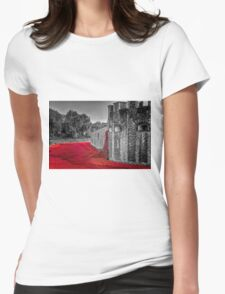 Cascading Poppies, Tower of London Womens Fitted T-Shirt