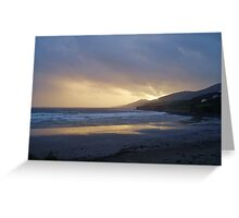 Gold sunset over Inch Beach Ireland Greeting Card