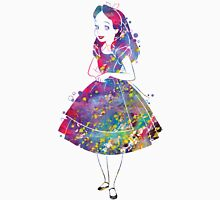 Alice in Wonderland Watercolor Womens Fitted T-Shirt
