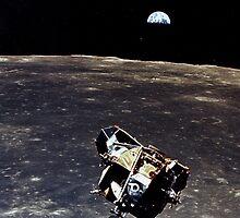 Earthrise and Lunar Lander by GodsAutopsy