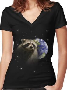 Raccoon Dream6 Women's Fitted V-Neck T-Shirt