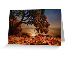 Sunset Oaktree and Vineyard In Fall Greeting Card