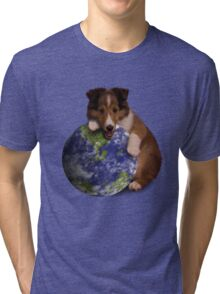 Earth Day Sheltie Tri-blend T-Shirt
