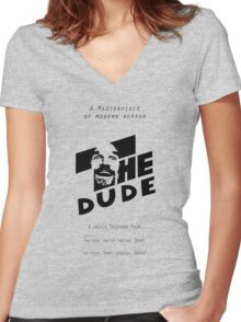 The Dude, Inspired by The Shining Women's Fitted V-Neck T-Shirt