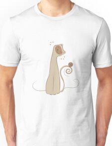 Cheerful Cat Silhouette Vector Art Unisex T-Shirt