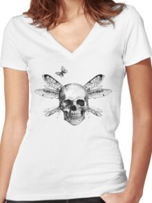 Skulls, wings and butterflies Women's Fitted V-Neck T-Shirt