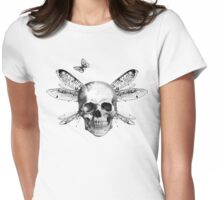 Skulls, wings and butterflies Womens Fitted T-Shirt