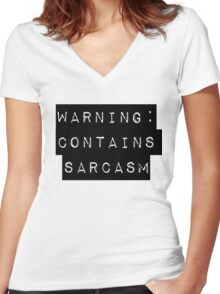 Warning: Contains Sarcasm Women's Fitted V-Neck T-Shirt