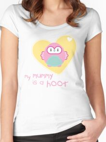 OWL SERIES :: heart - mummy is a hoot 2 Women's Fitted Scoop T-Shirt