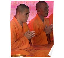 Monks In Prayer - River Kwai, Thailand Poster