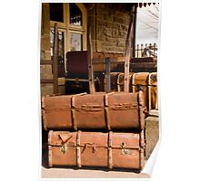 Old luggage at railway station Poster