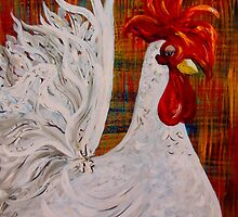 I Know I am Lovely - White Rooster by EloiseArt