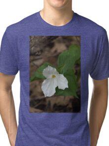 Spring Forest Walk Treasures - White Trillium Flower Tri-blend T-Shirt