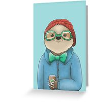 Hipster Sloth  Greeting Card