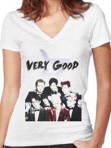 [K-POP DESIGNS] VERY GOOD - BLOCK B  Women's Fitted V-Neck T-Shirt