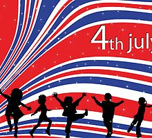 Independence day background with children silhouettes by Richard Laschon
