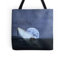Across The Sea A Pale Moon Rises Tote Bag