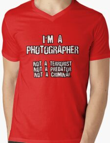 PHOTOGRAPHER NOT A TERRORIST Mens V-Neck T-Shirt