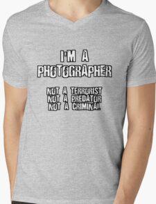 PHOTOGRAPHER NOT A TERRORIST Mens V-Neck T-Shirt