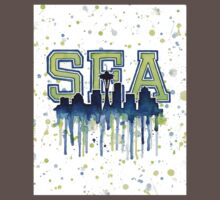 Seattle Seahawks 12th Man Art Watercolor Kids Clothes