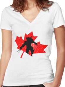 Canadian Wolverine Women's Fitted V-Neck T-Shirt