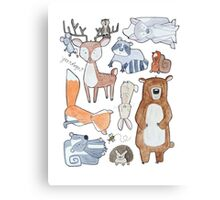 Woodland Creatures Collage Canvas Print