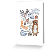 Woodland Creatures Collage Greeting Card