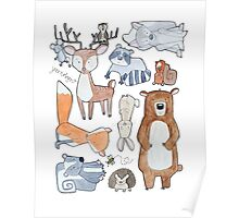 Woodland Creatures Collage Poster