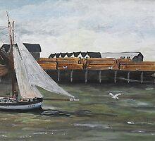 Boat Leaving Whitstable Harbour by Juanita Newton
