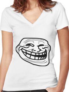 Troll Face Women's Fitted V-Neck T-Shirt