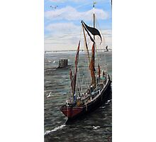 Barge Leaving Whitstable (close up of boat) Photographic Print