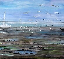 Mud Flats Hayling Island by Juanita Newton