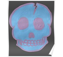 Blue Cracked Skull Poster