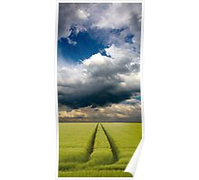 Tramlines in Wheat crop with storm clouds Poster